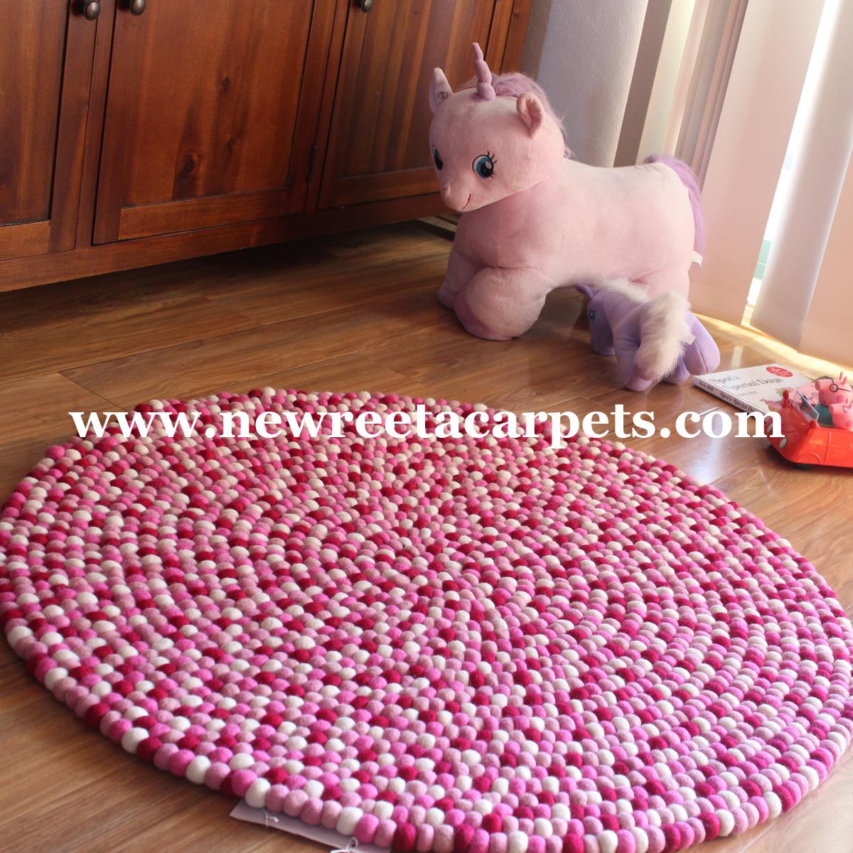round felt ball rugs; pink felt ball rug ...