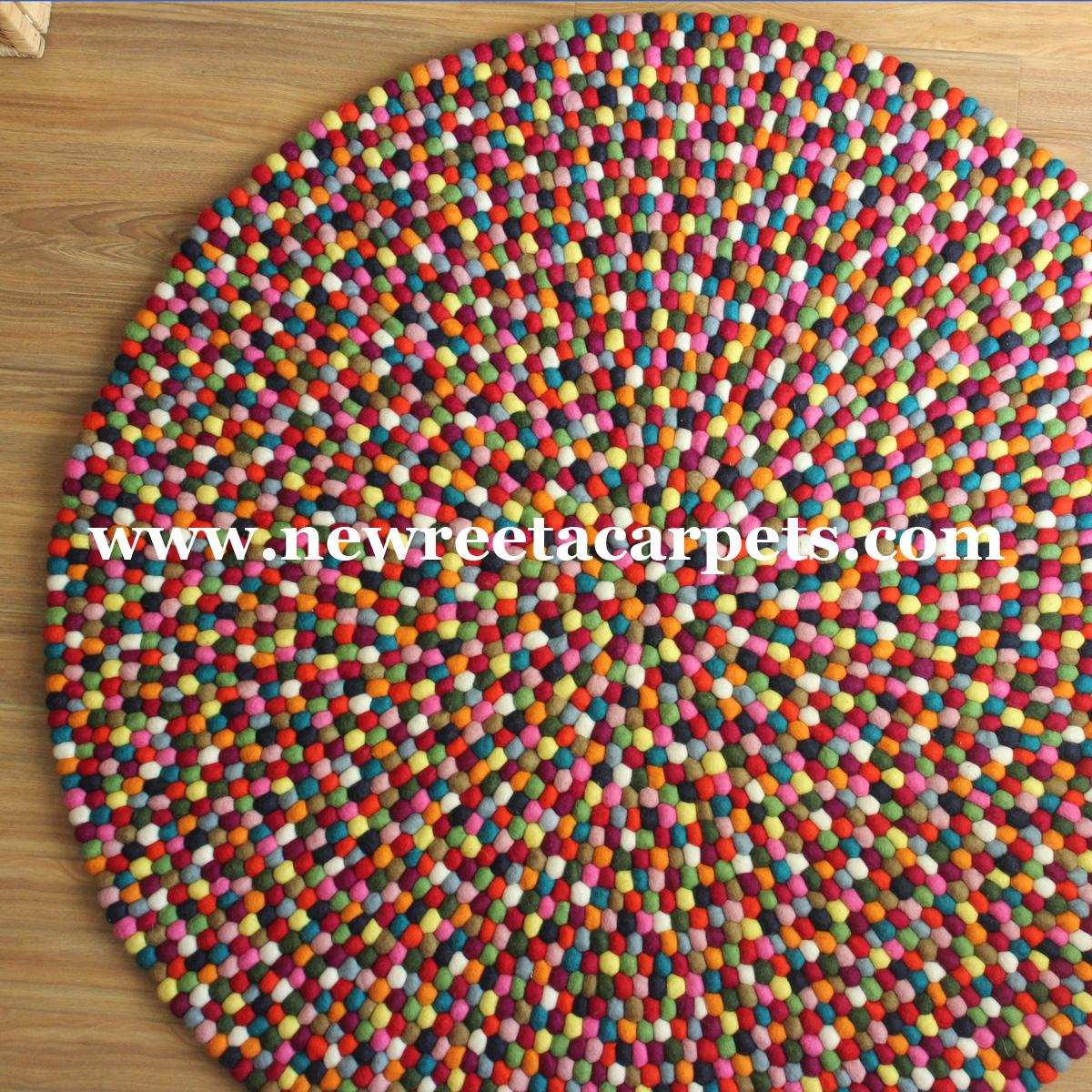 multi color felt ball rug - new reeta carpets nepal