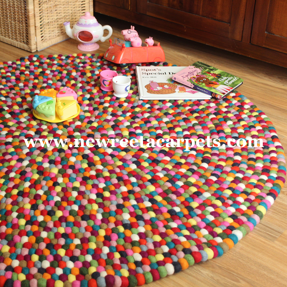 multi color felt ball rug - new reeta carpets nepal
