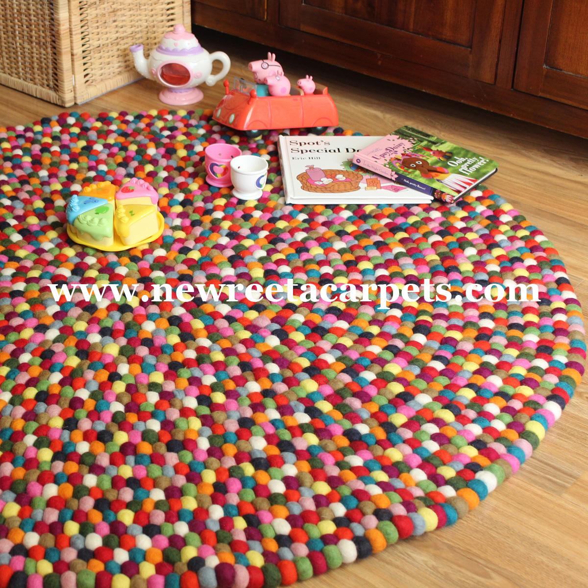 Multi Color Felt Ball Rug Nepal