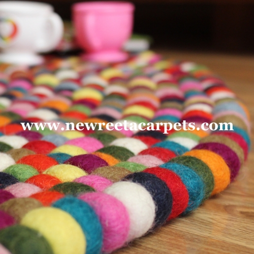 multicolor felt ball rug