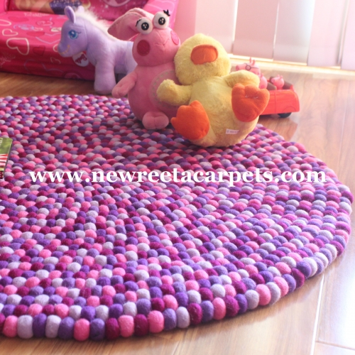 felt ball rug purple